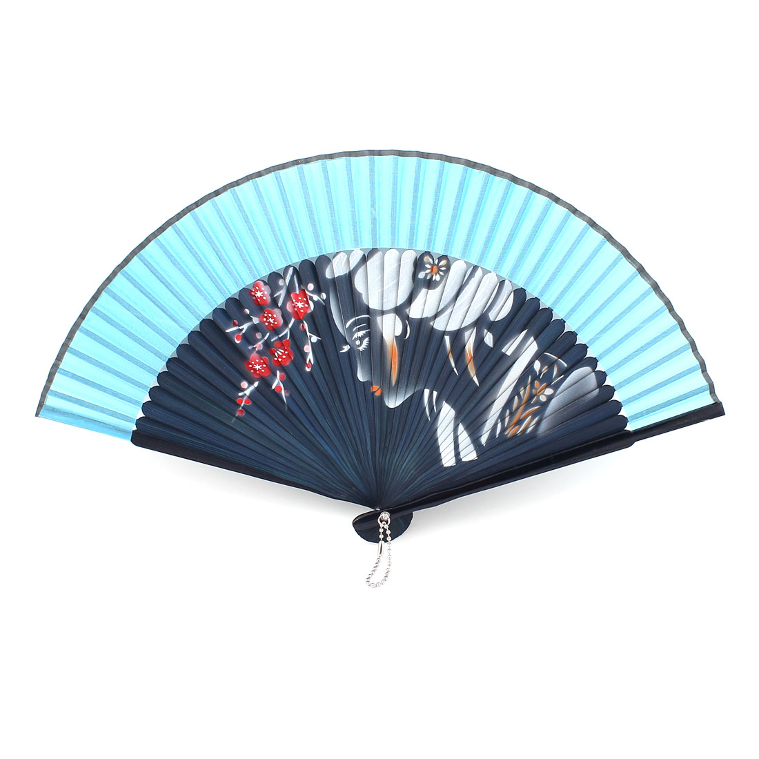 Wood Frame Blue Fabric Lady Pattern Folding Printing Slip Paint Hand Fan