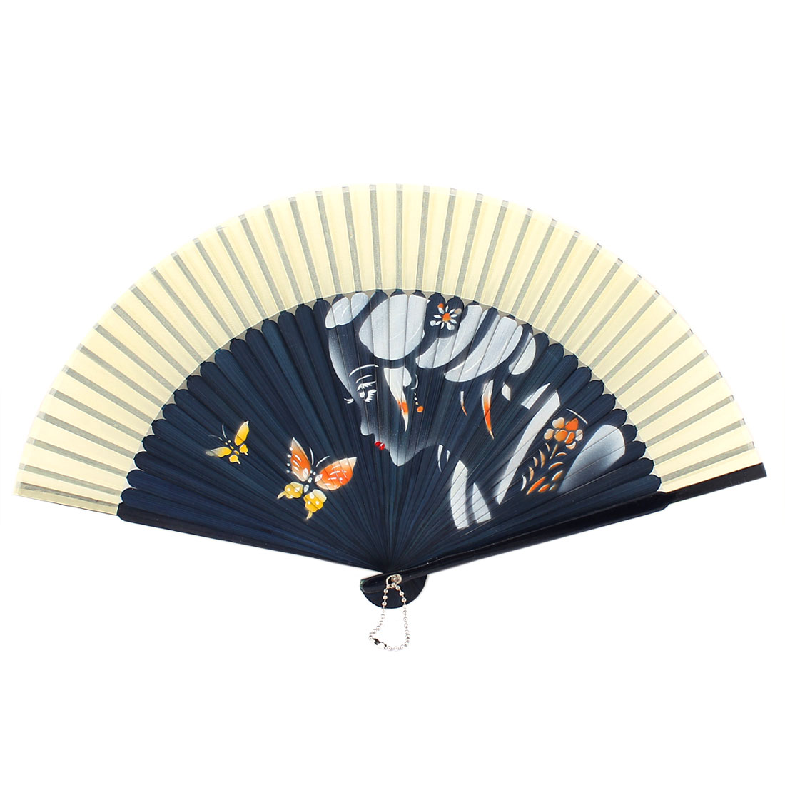 Silk Butterfly Pattern Handheld Folding Fan Party Gift Dark Blue