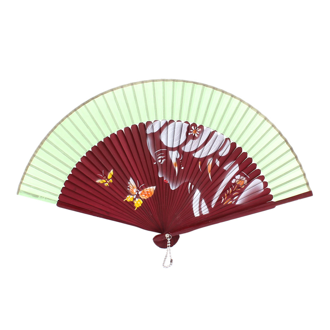 Green Fabric Rim Beauty Butterfly Printed Party Wedding Dancing Foldable Hand Fan