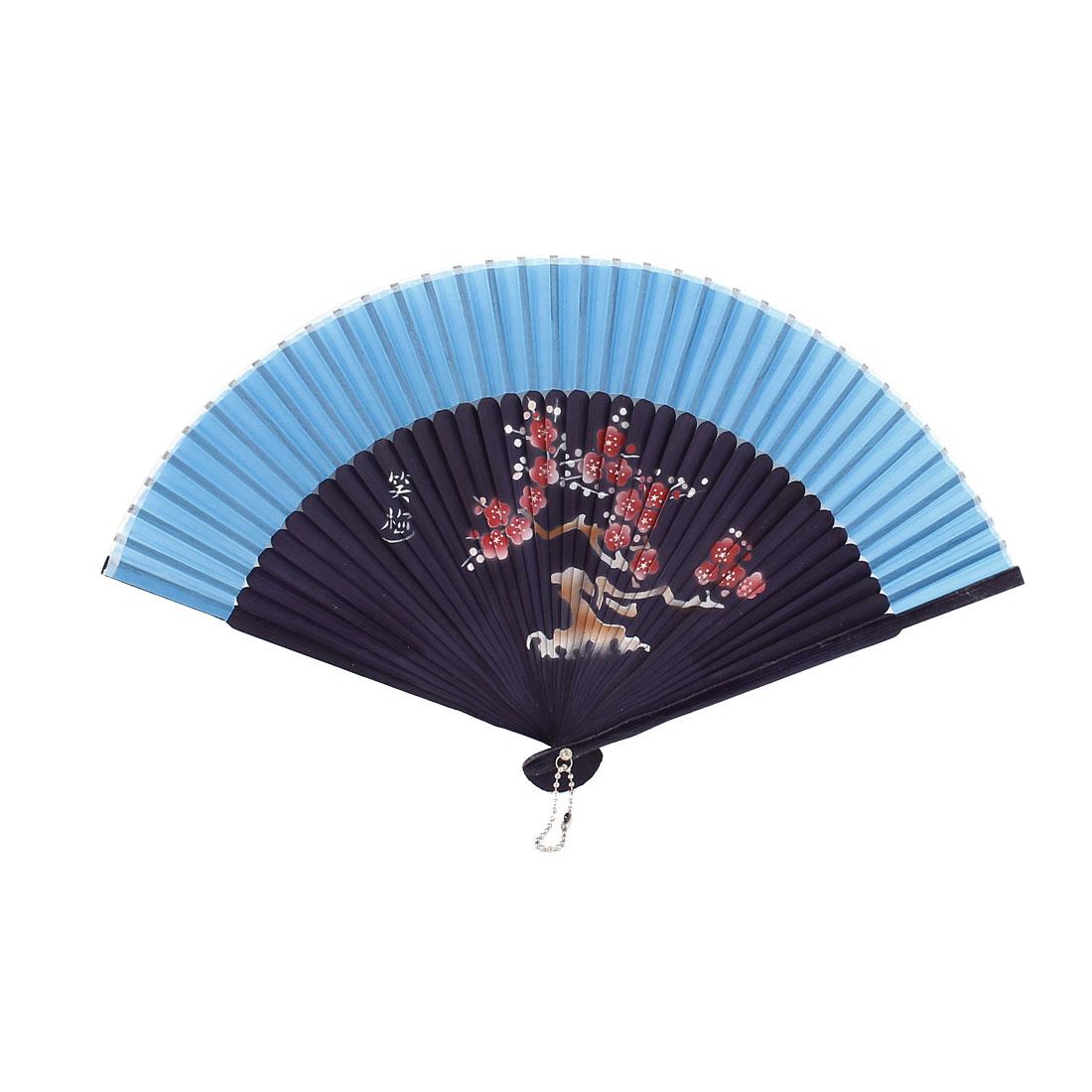 Blue Fabric Plum Blossom Printed Party Wedding Dancing Folded Hand Fan