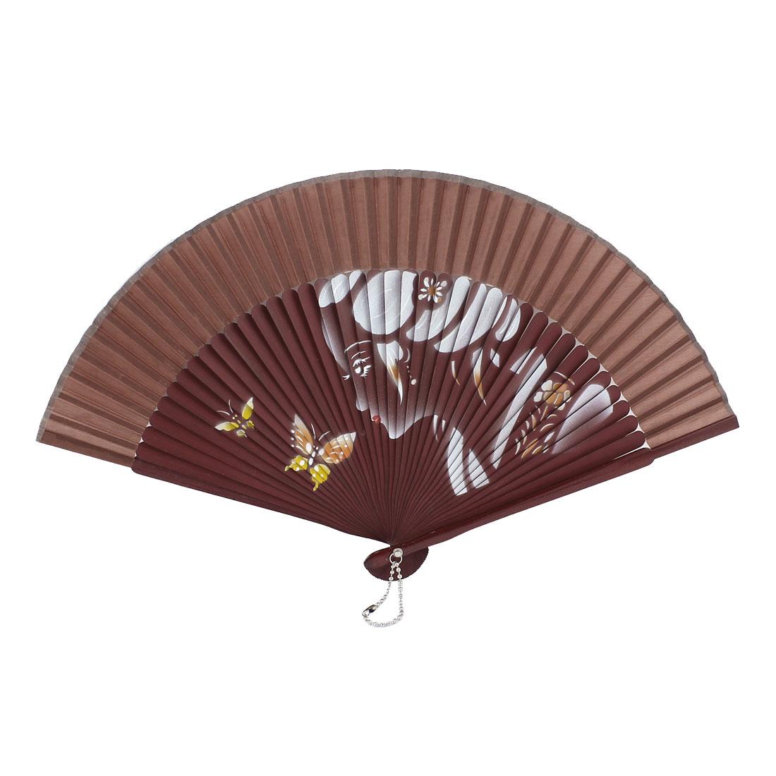 Portable Dark Burgundy Beauty Butterfly Printed Party Wedding Dancing Hand Fan