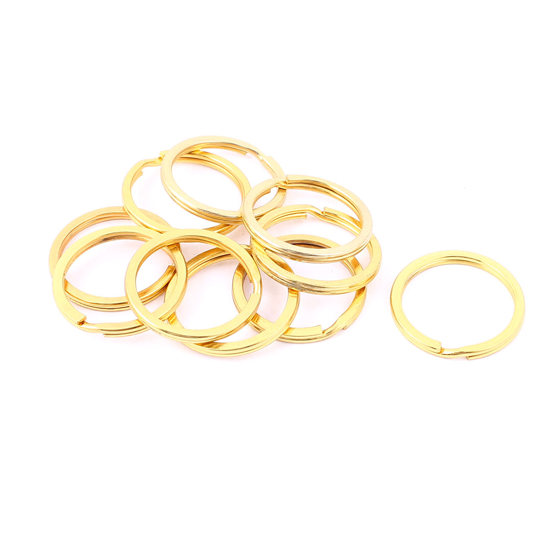 "10 PCS Gold Tone 1.02"" Dia Metal Rings Replacement Split Loop Keyring Keys Holder"