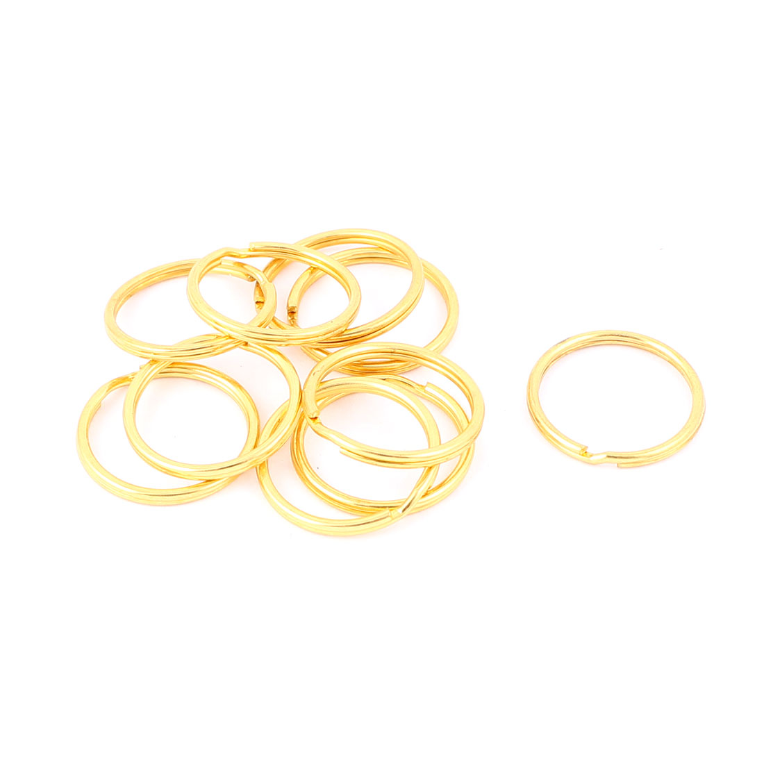 "10 PCS Gold Tone 0.9"" Dia Metal Rings Replacement Split Loop Keyring Keys Holder"