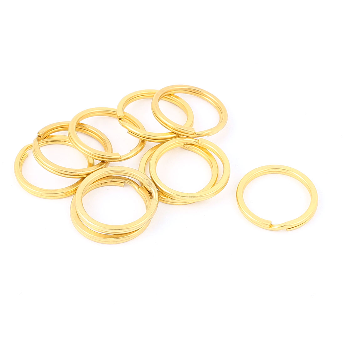 "10 PCS Gold Tone 0.8"" Dia Metal Rings Replacement Split Loop Keyring Keys Holder"