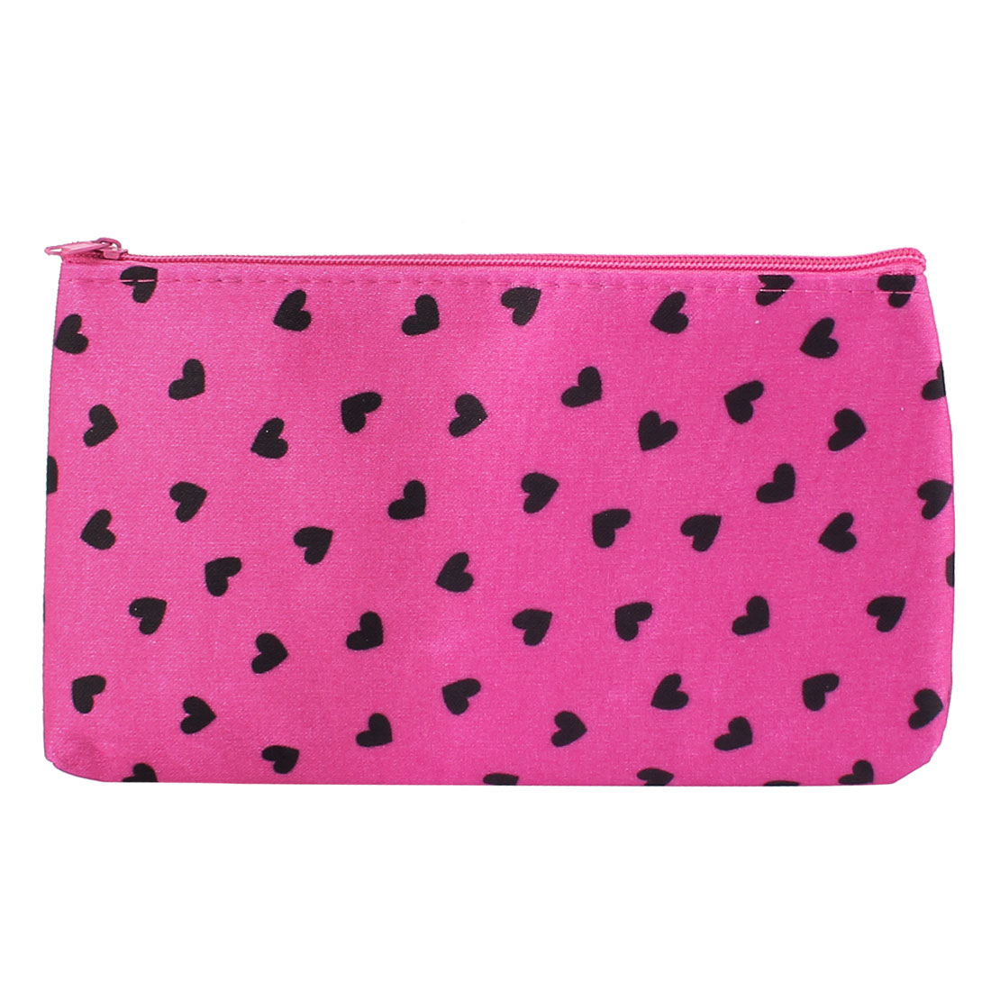 Woman Hearts Printed Makeup Portable Cosmetic Bag Holder Organizer Black Fuchsia