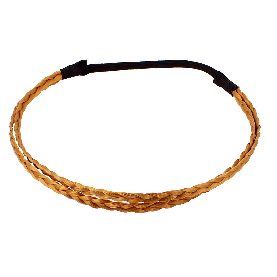 Synthetic Fiber Plaited Double Root Hair Hoop Brown Black for Ladies