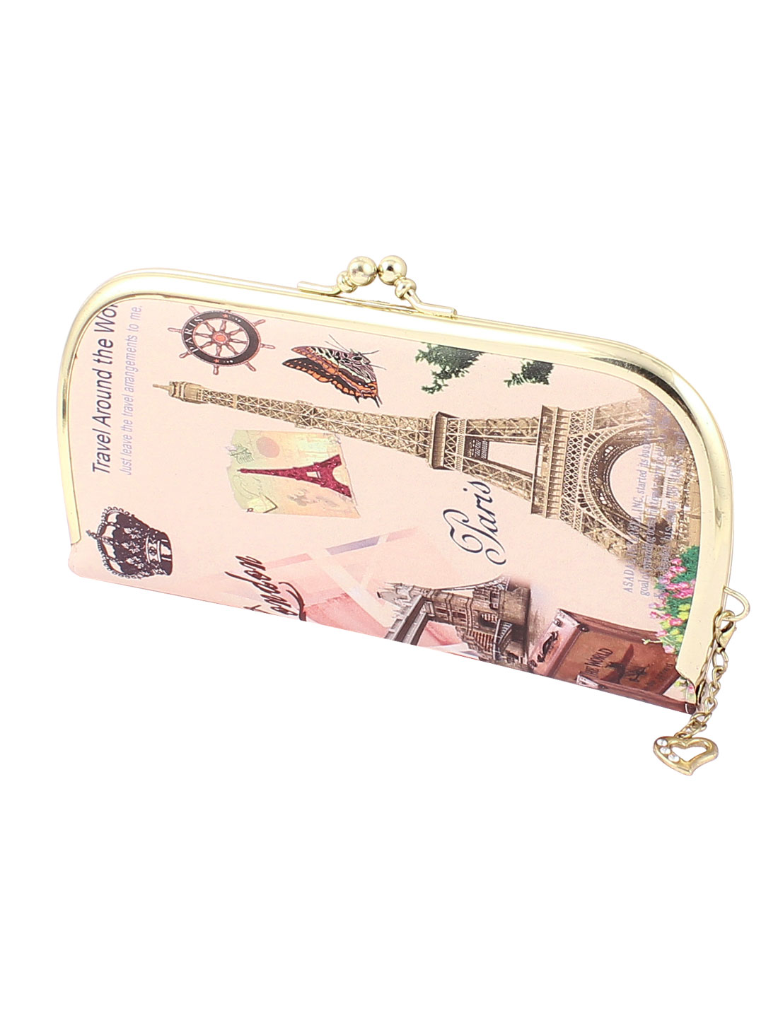 Woman Castle Butterfly Grapes Words Pattern Flip Kiss Lock Wallet Purse Holder Multicolor