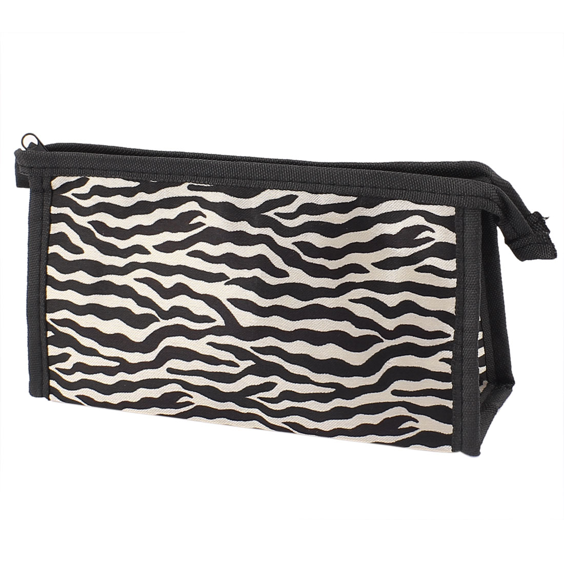 Lady Zebra Pattern Zipper Makeup Cosmetic Organizer Bag Black Gray