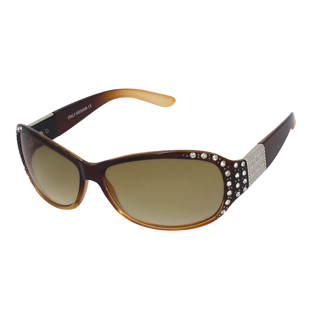 Lady Full Rim Faux Rhinestone Decor Single Bridge Eyewear Sunglasses Brown