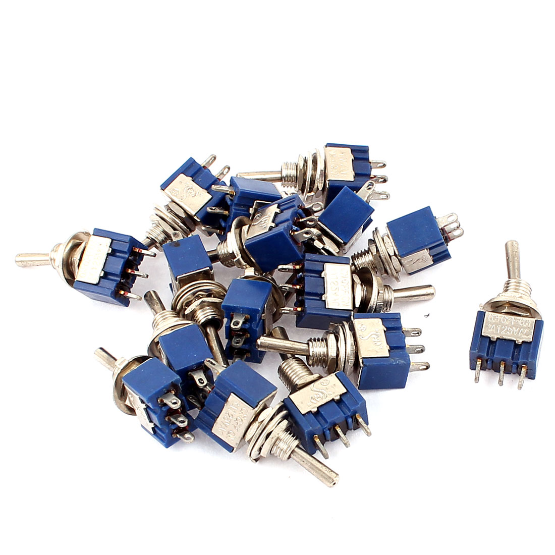 AC125V 6A SPDT ON-OFF-ON 3 Terminal Latching Miniature Toggle Switch 16pcs