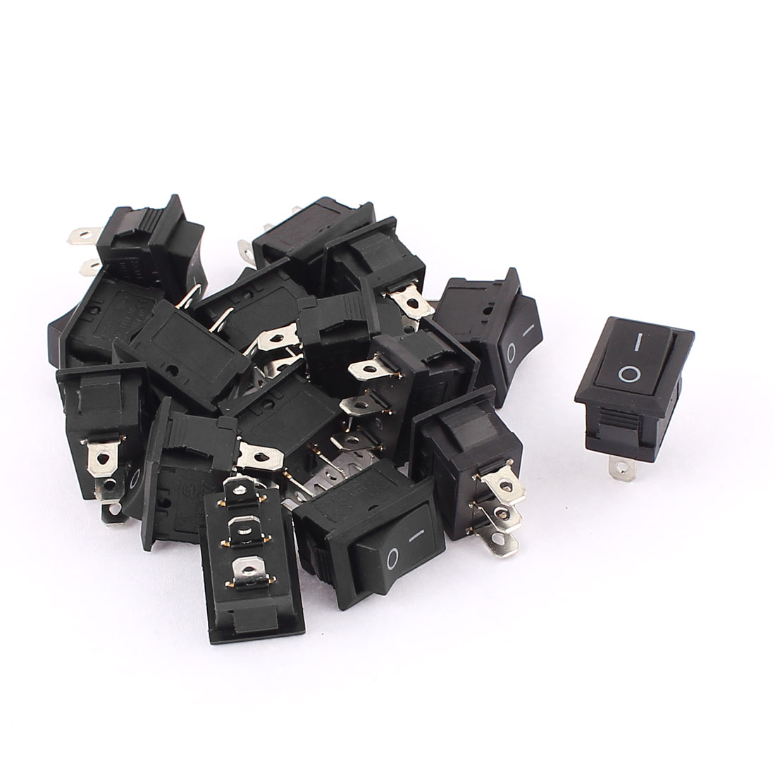 AC 250V 6A 125V 10A SPDT 3 Terminal 2 Position On/ Off Snap in Mount Mini Rocker Switches 16Pcs