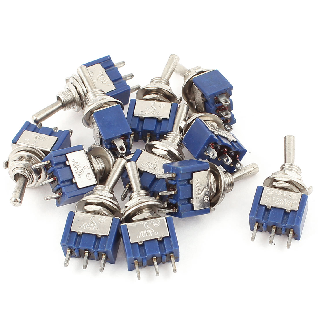 AC125V 6A SPDT ON-OFF-ON 3 Terminal Latching Miniature Toggle Switch 12pcs
