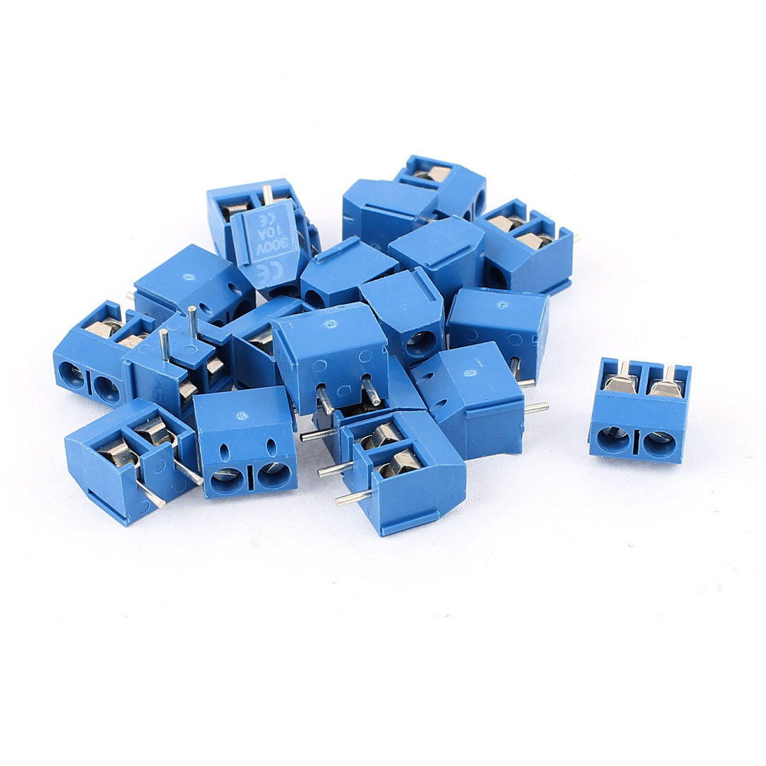 20PCS 300V 10A 2way 2-Terminal Plug-in Screw Terminal Block Connector 5mm Pitch Panel PCB Mount