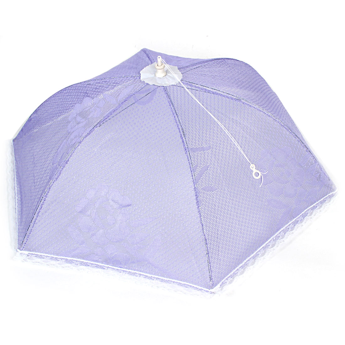 Nylon Netty Umbrella Shaped Flower Printed Foldable Food Cover Purple