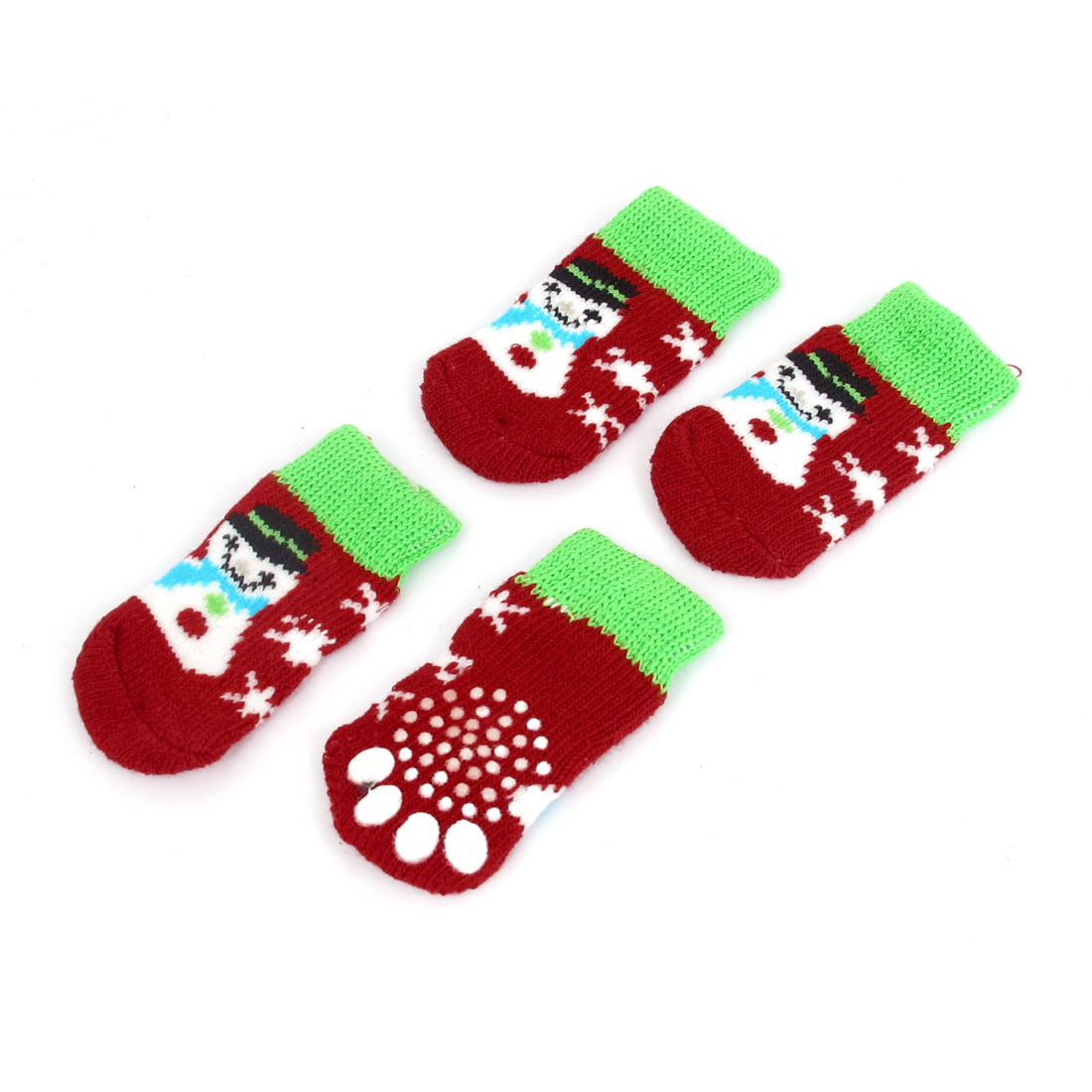 2 Pairs Snowman Printed Nonskid Bottom Elastic Cuff Knitted Pet Dog Yorkie Cat Socks