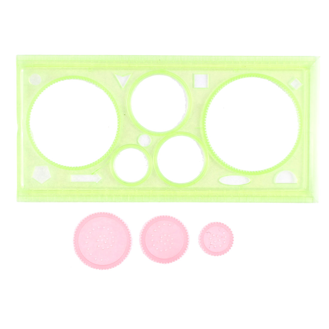 Round Ellipse Square Triangle Drafting Drawing Stencil Templates Ruler Green