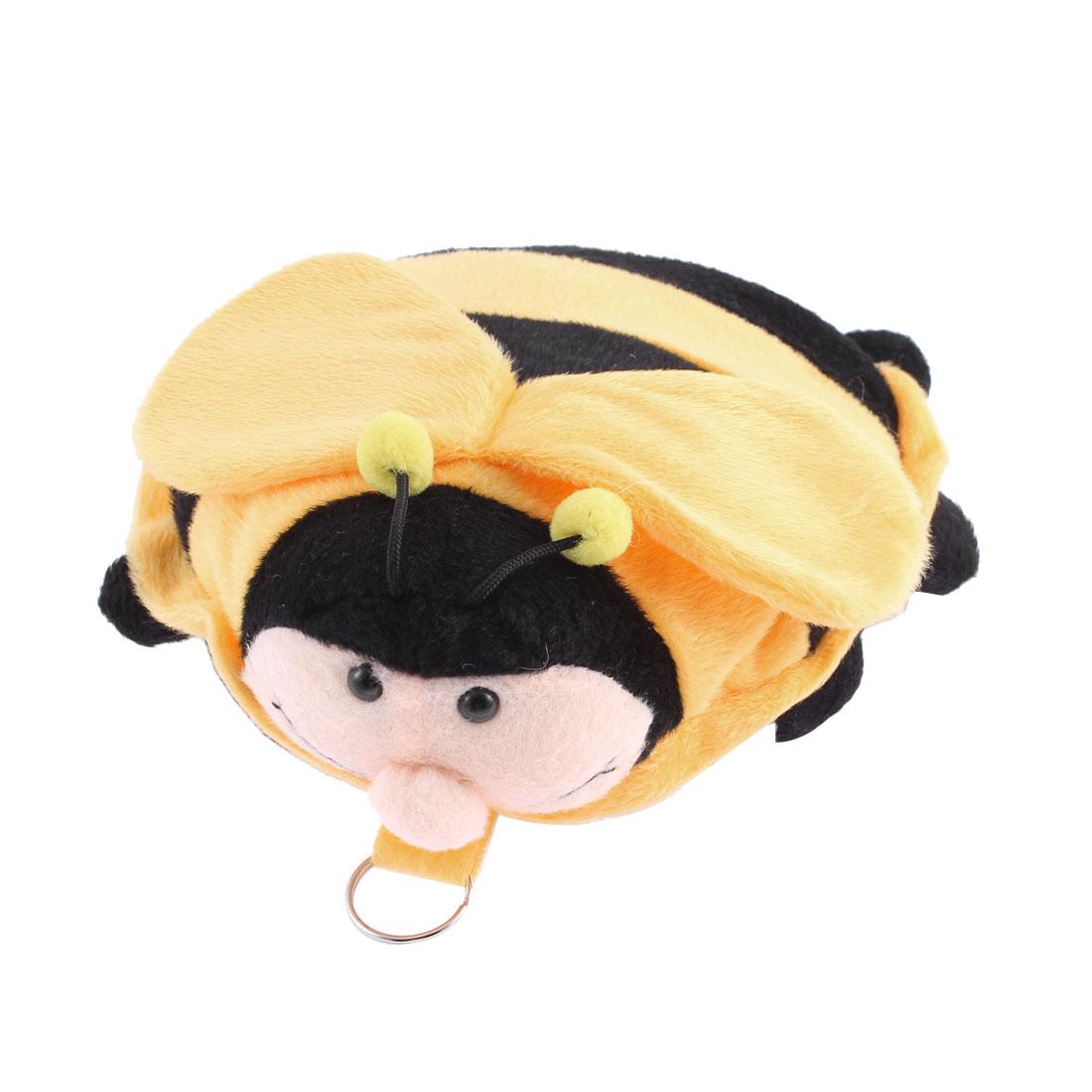 Cartoon Bee Design Zippered Keyring Plush CD VCD Storage Bag Holder Yellow Black