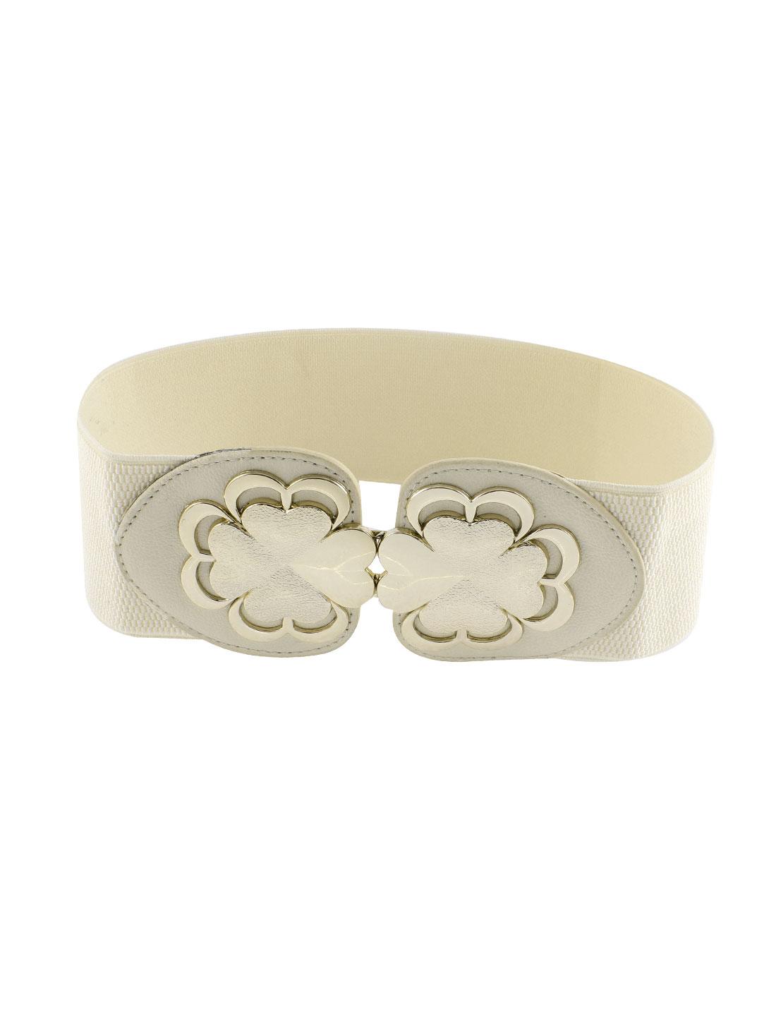 Lady Flower Design Interlock Buckle Stretchy Waist Belt Cinch Waistband White