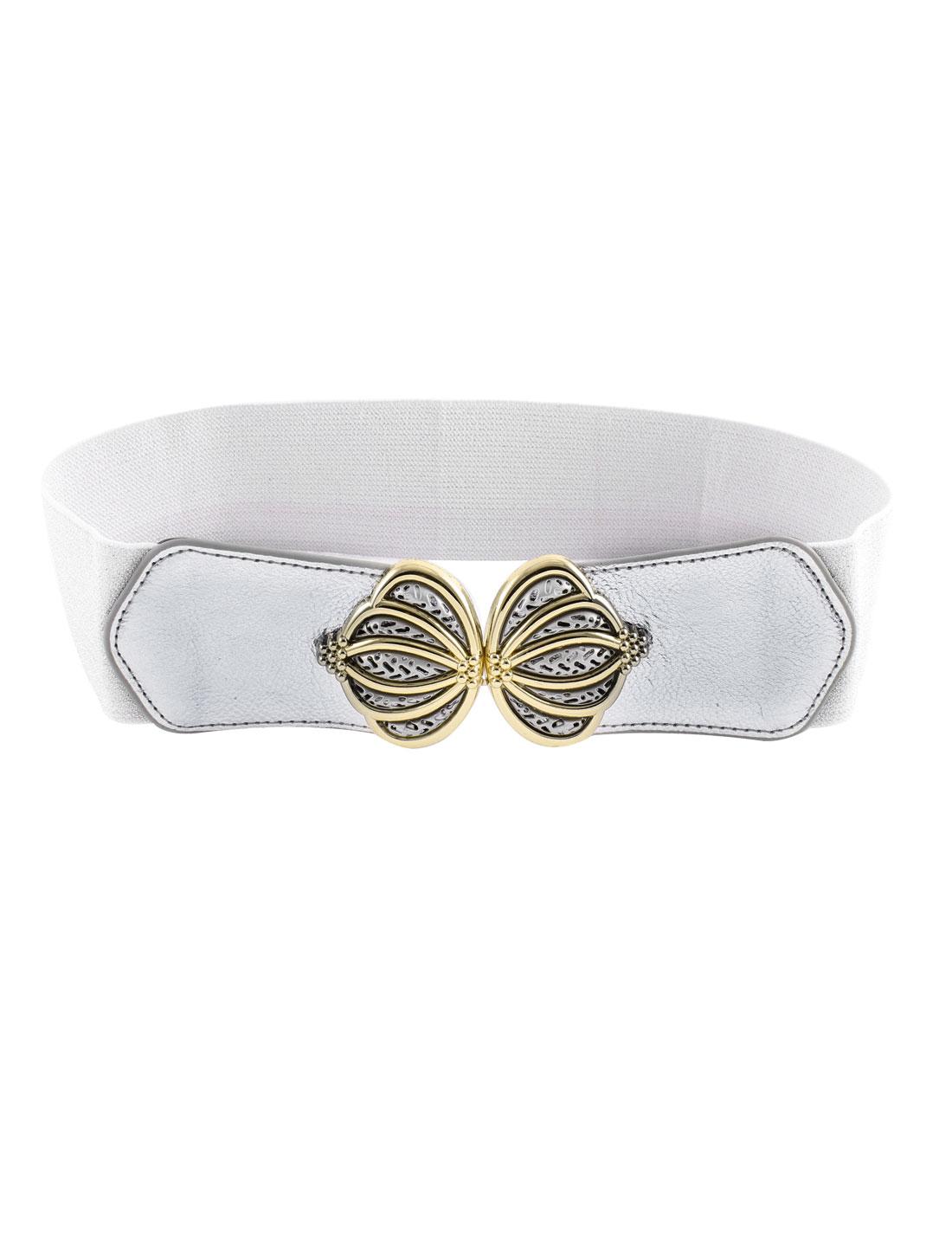 Lady Crown Shape Interlocking Buckle Powder Elastic Waist Belt Cinch Silver Gray
