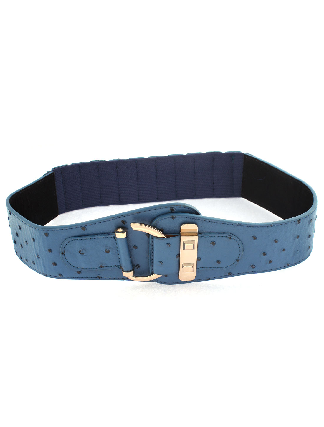 Lady D Shape Metal Hook Buckle Stretchy Waist Belt Cinch Waistband Teal Blue