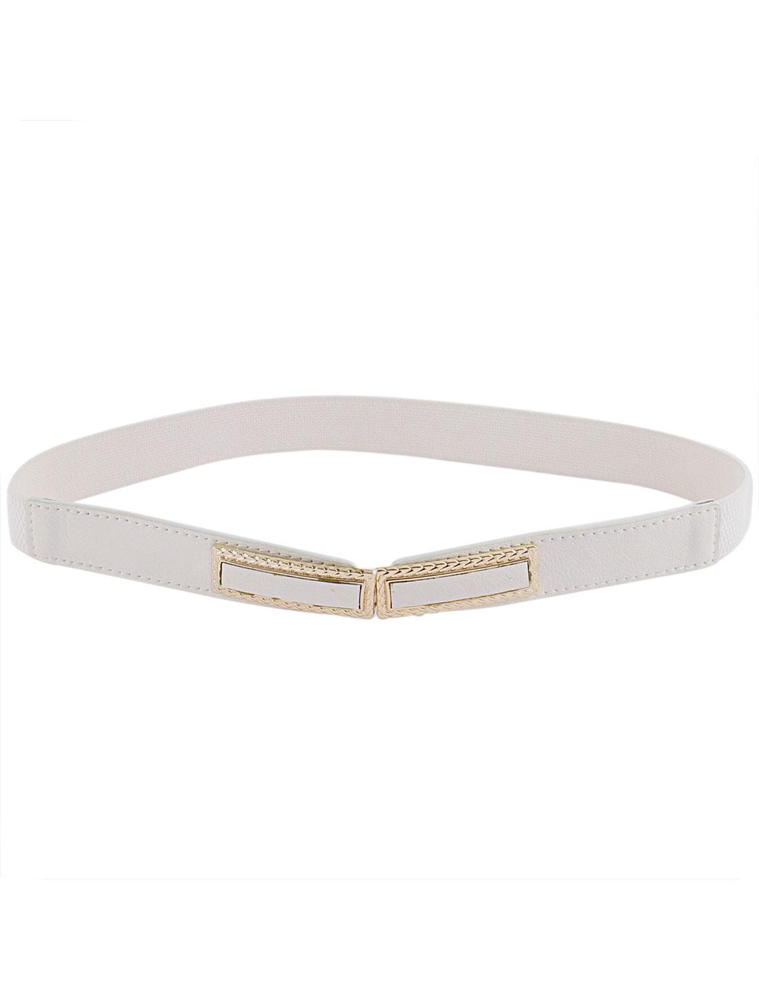 Woman Rectangle Metal Interlock Buckle Elastic Thin Waist Belt Cinch White