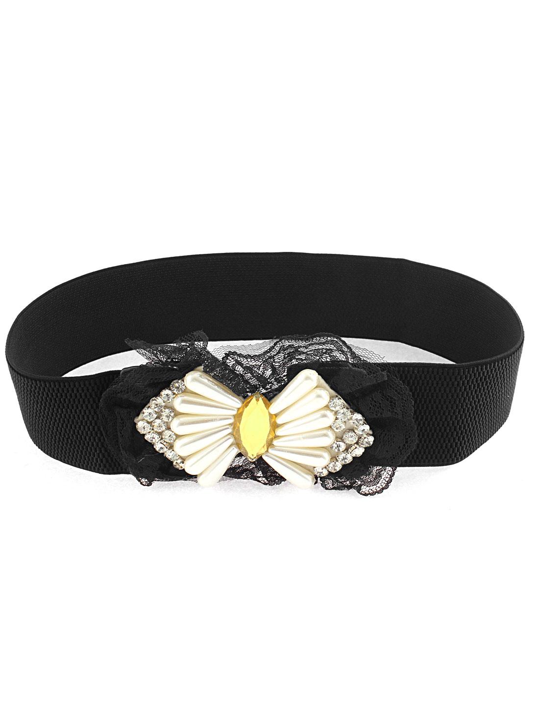 Lady Faux Pearl Crystal Rhinestone Decor Bowknot Buckle Elastic Waist Belt Black