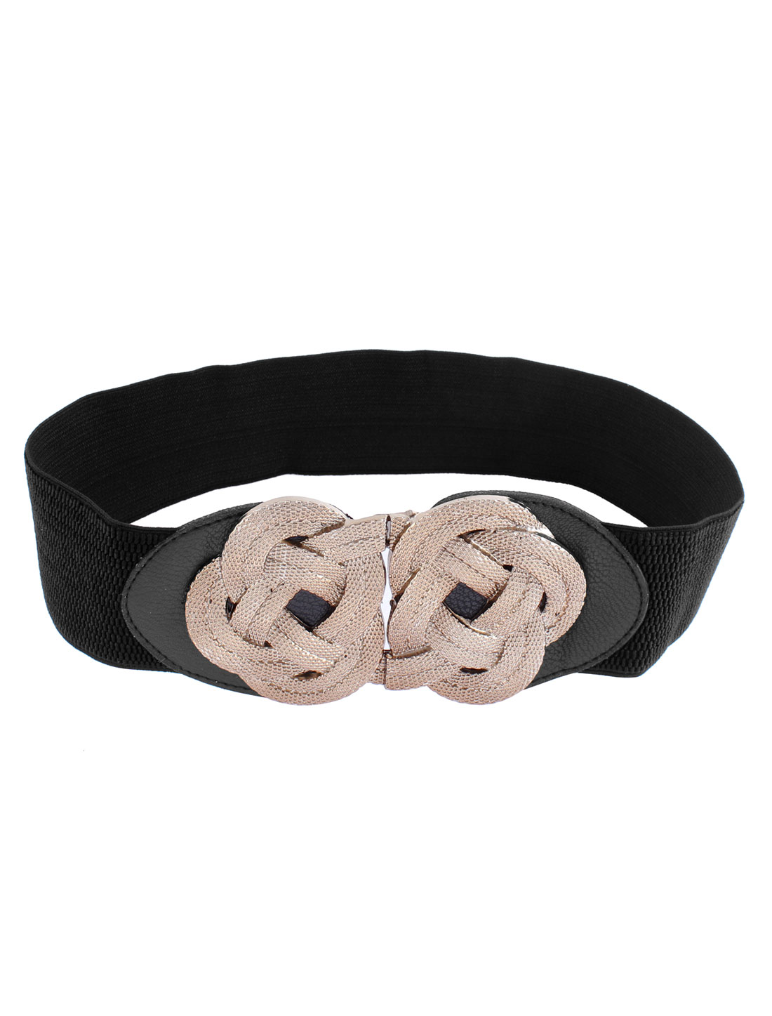 Women Gold Tone Metal Flower Knot Interlock Buckle Elastic Waist Band Belt Black