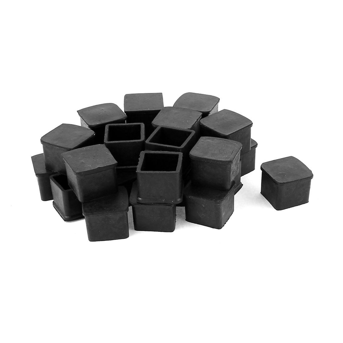 Furniture Foot Square Rubber Covers Protector 25mmx25mm Black 28pcs