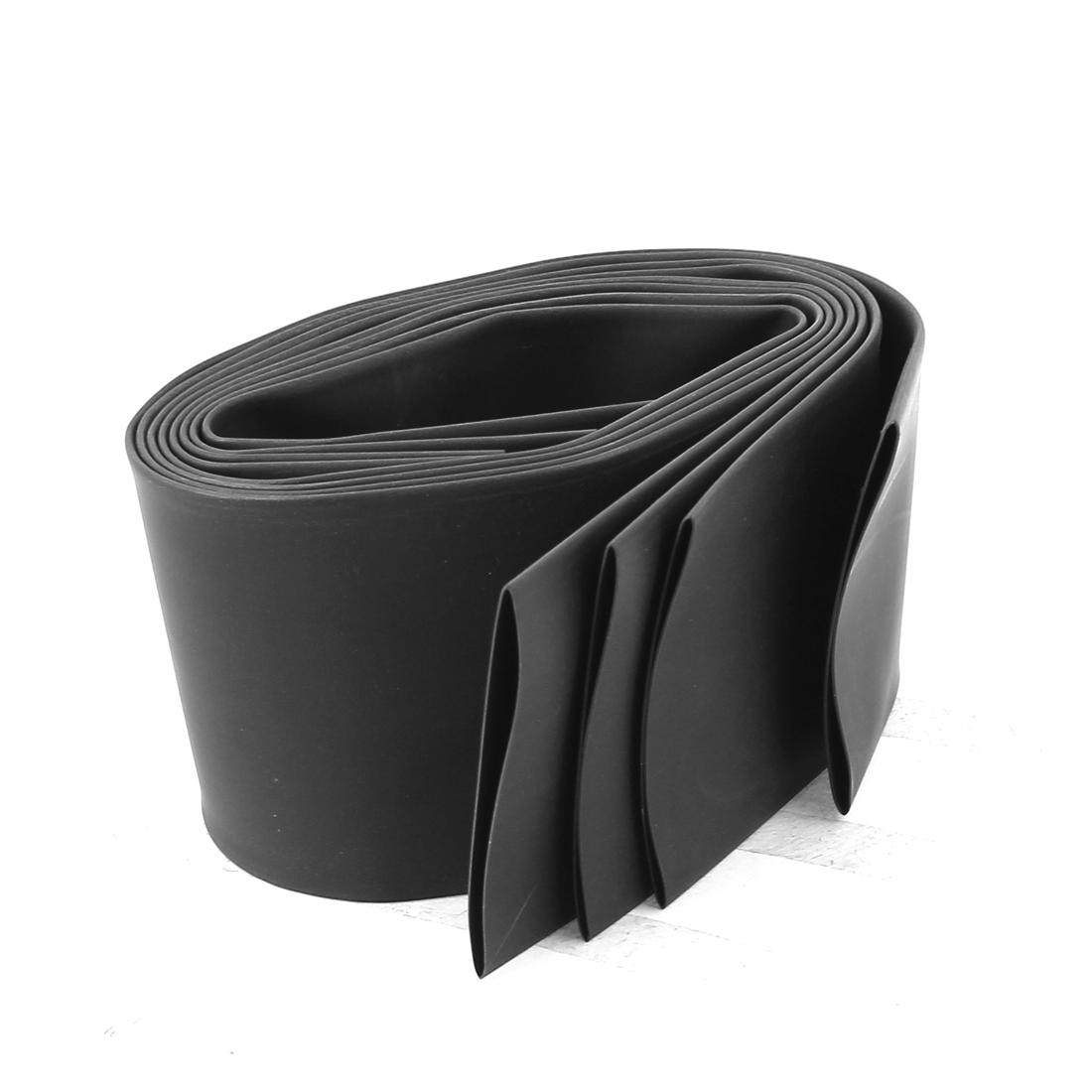 Ratio 2:1 35mm Dia Black Polyolefin Heat Shrinkable Tube 0.5M 4pcs