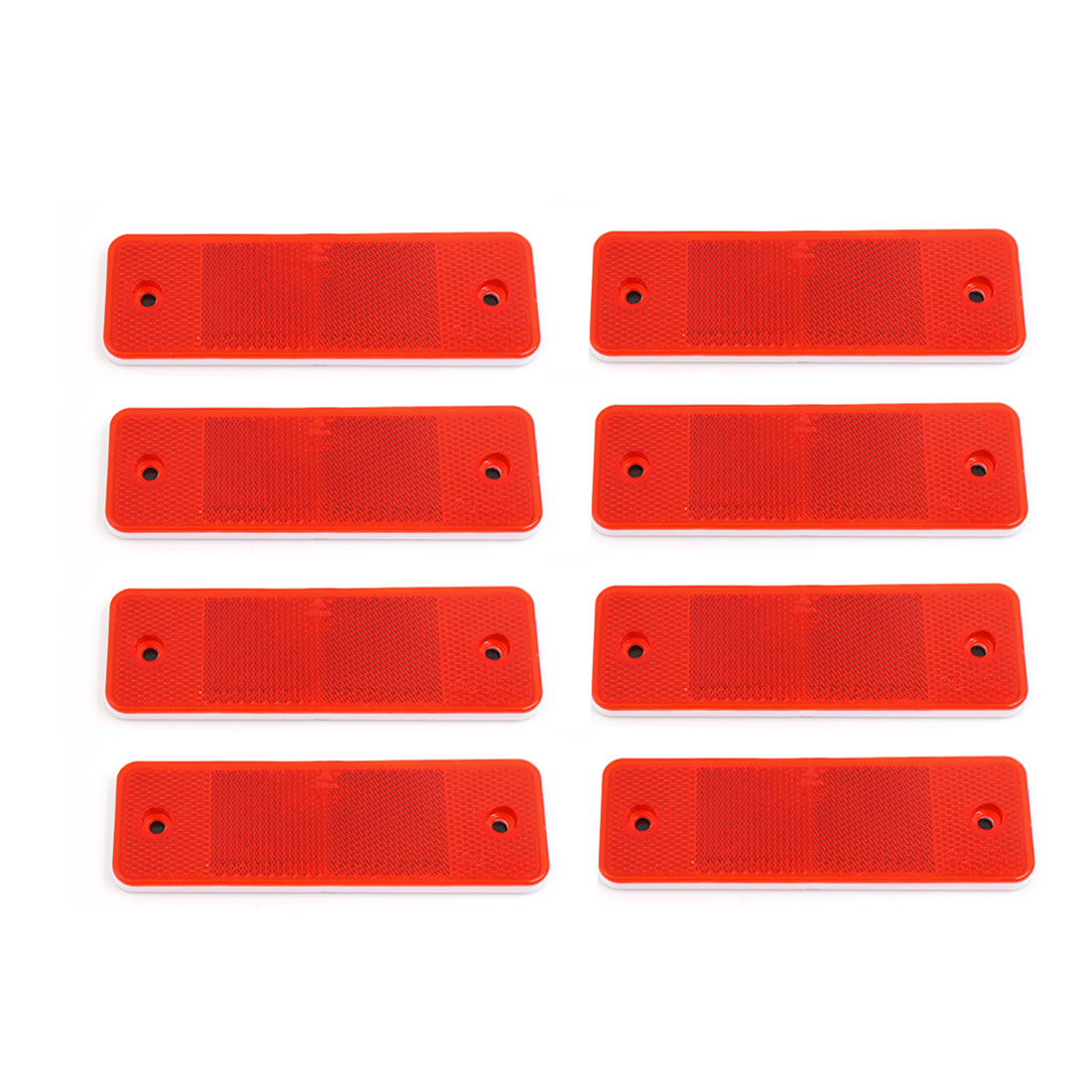 8 Pcs Red Plastic Rectangular Stick-on Car Reflector Reflective Sticker Decor