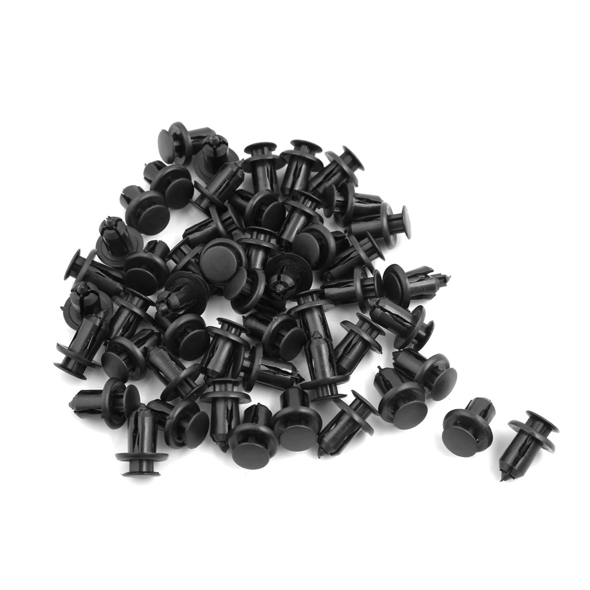 50 Pcs Black Plastic Rivets Fastener Car Fender Bumper Push Clips 10mm Hole Dia