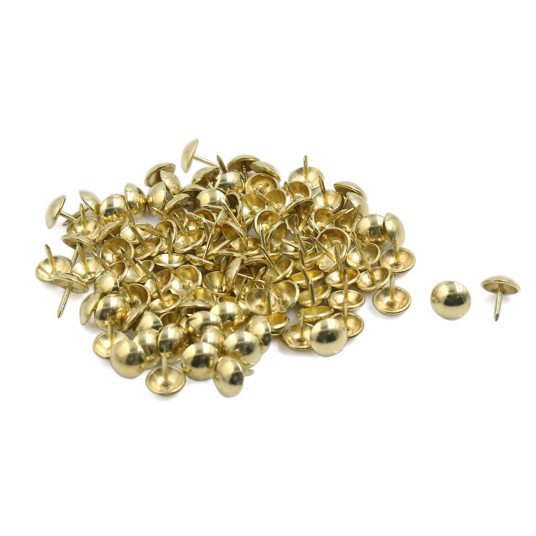 Corkboard Photo Steel Round Top Pushpin Thumb Tacks Gold Tone 11mm Dia 100pcs