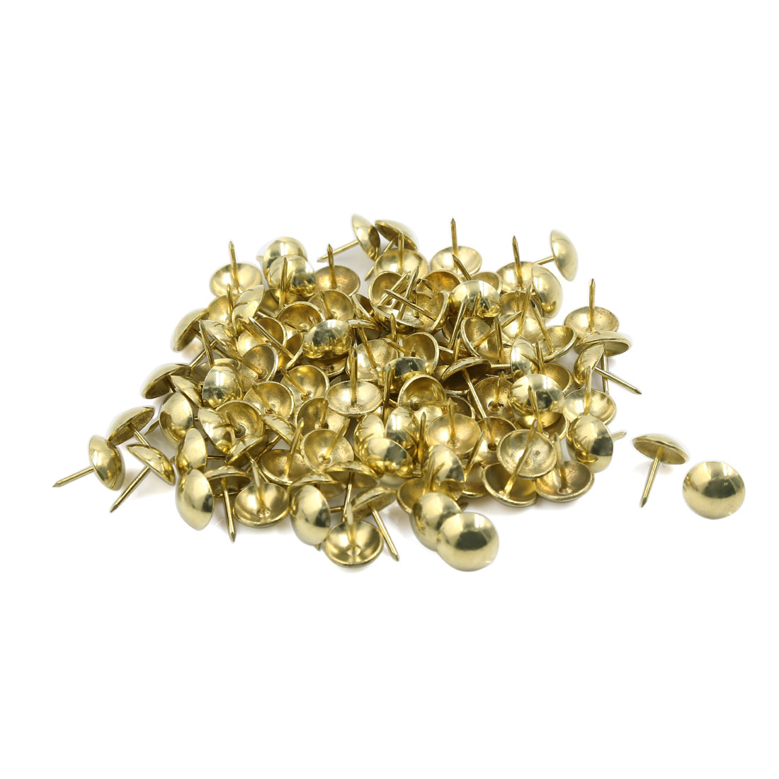 Office Home School Message Boards Push Pin Thumb Tacks Gold Tone 15mm Dia 100pcs