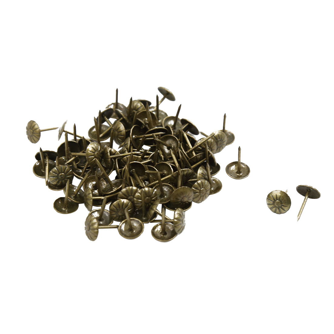 Corkboard Photo Flower Pattern Pushpin Thumb Tacks Bronze Tone 11mm Dia 100pcs