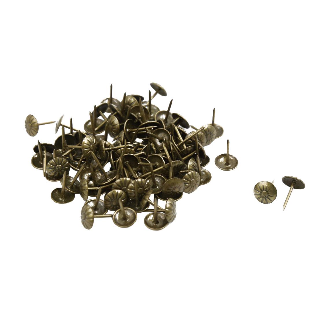 Corkboard Photo Flower Pattern Pushpin Thumb Tacks Bronze Tone 11mm Dia 100pcs