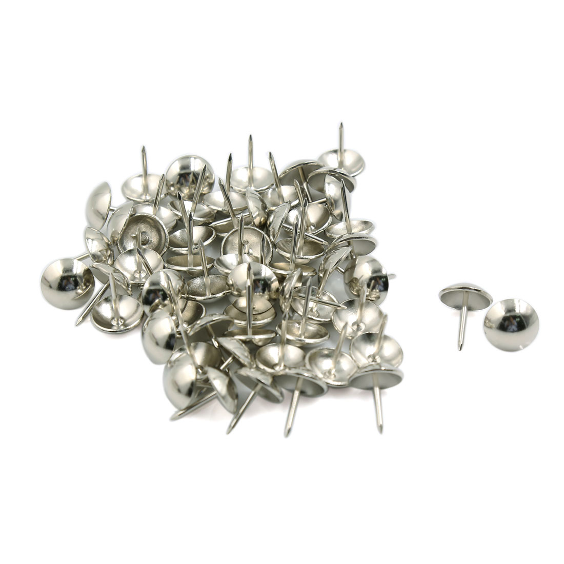 Message Notice Board Corkboard Photo Steel Round Top Thumbtack Sliver Tone 50pcs
