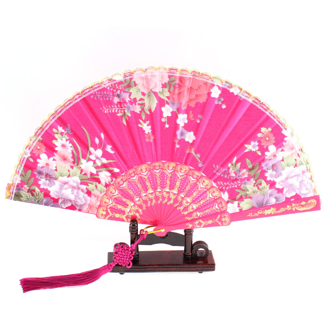 Flower Pattern Hollow Out Handle Lace Edge Folding Hand Fan Fuchsia w Holder