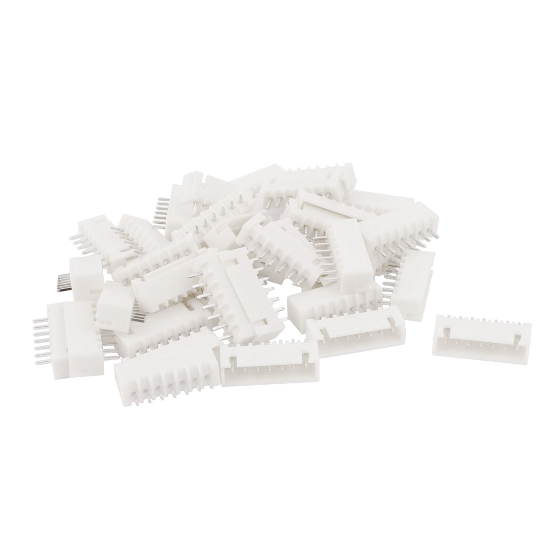 2.54mm Pitch Male 7 Pins Single Row JST XH Series Connector Header White 37Pcs