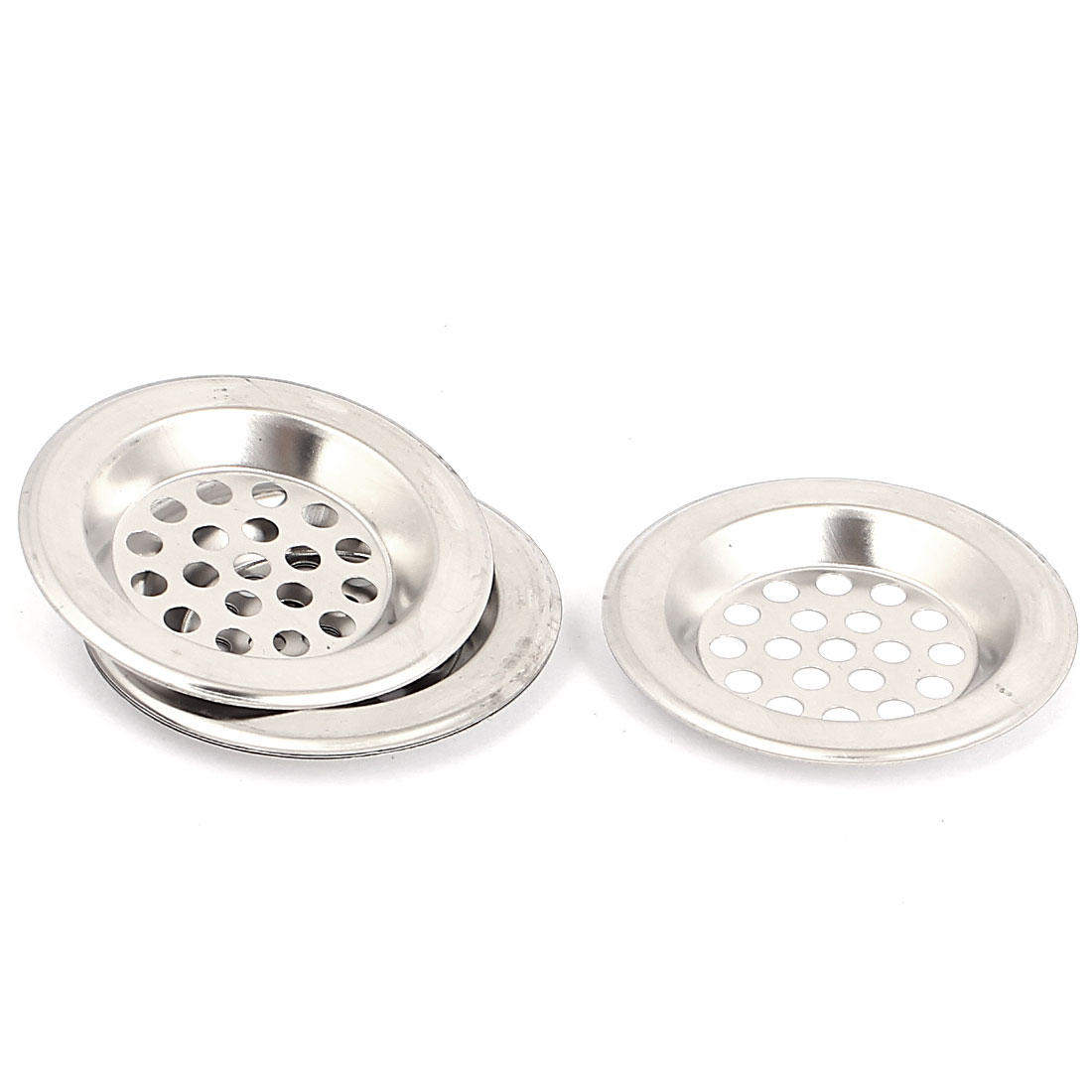 Metal Hole Design Home Bath Shower Floor Sink Drain Strainer Silver Tone 5Pcs