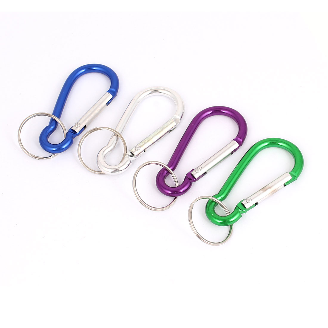 Carabiner Clip Hook Split Ring Keychain Keyring Key Holder 4Pcs