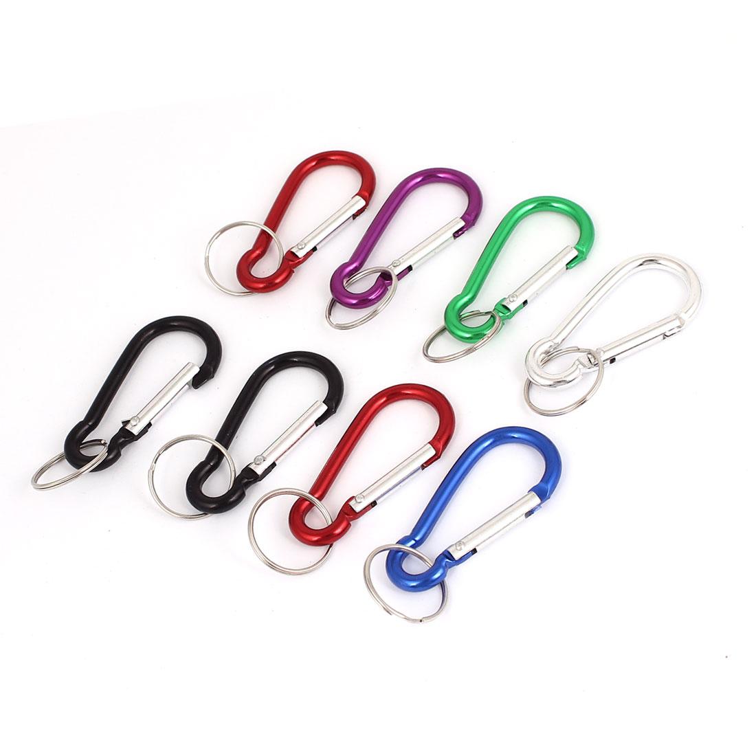 Carabiner Clip Hook Split Ring Keychain Keyring Key Holder Assorted Color 8Pcs