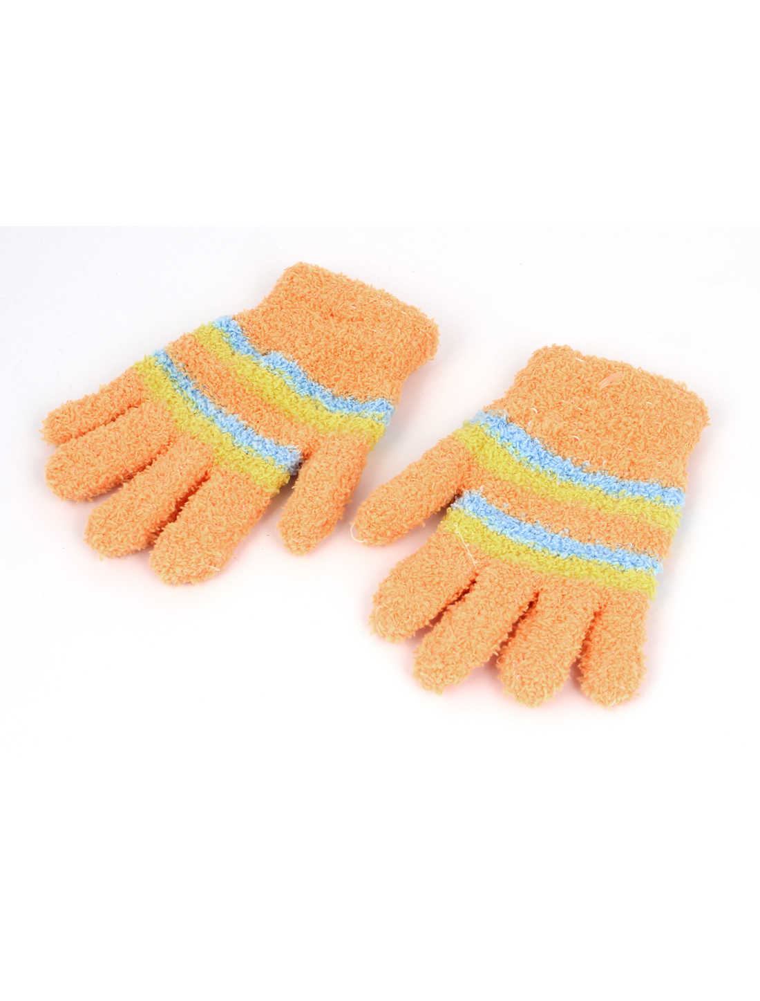 Children Stripes Pattern Full Finger Elastic Hand Warmer Gloves Orange Pair