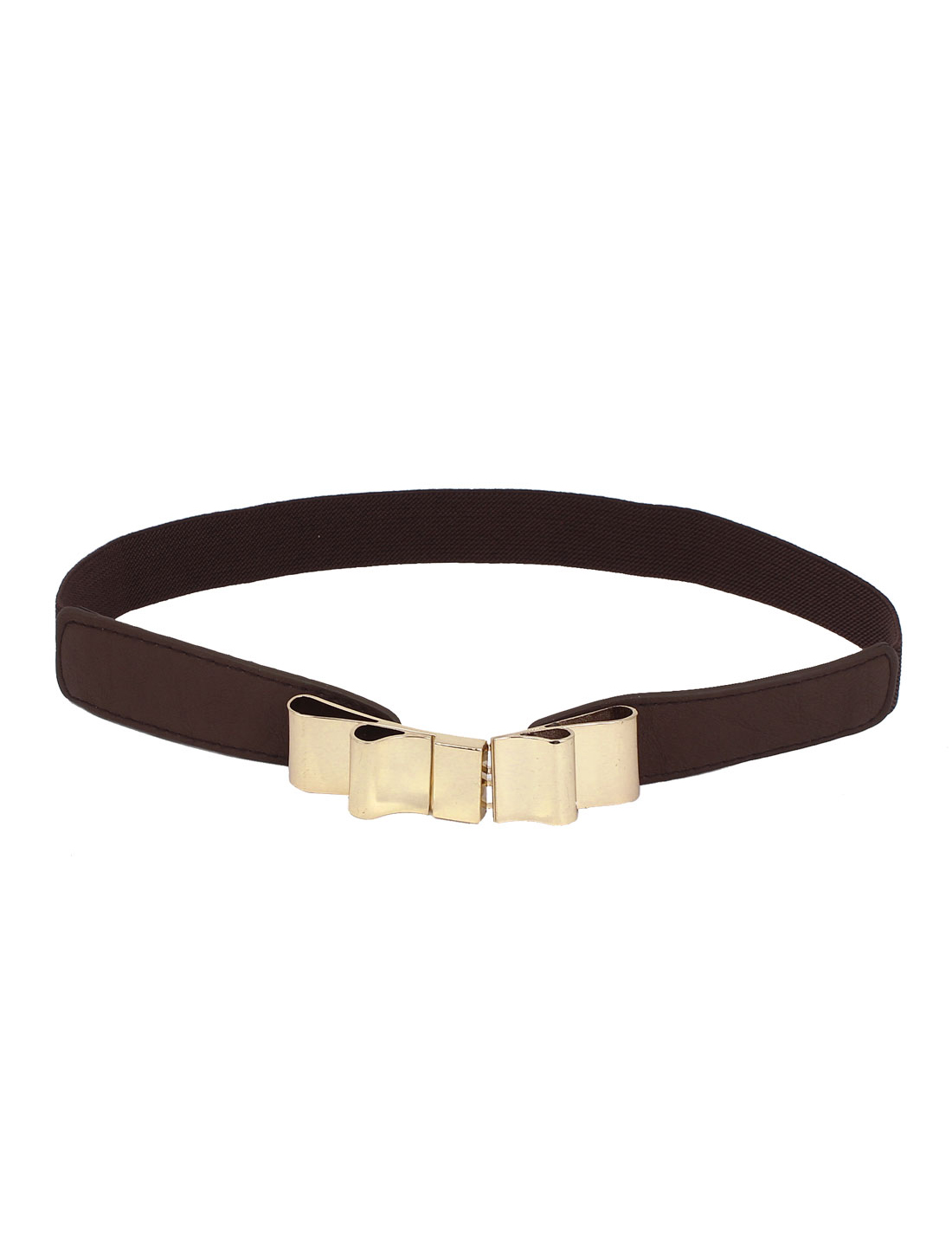 Woman Metal Bowknot Shape Buckle Link Elastic Stretch Waist Belt Brown