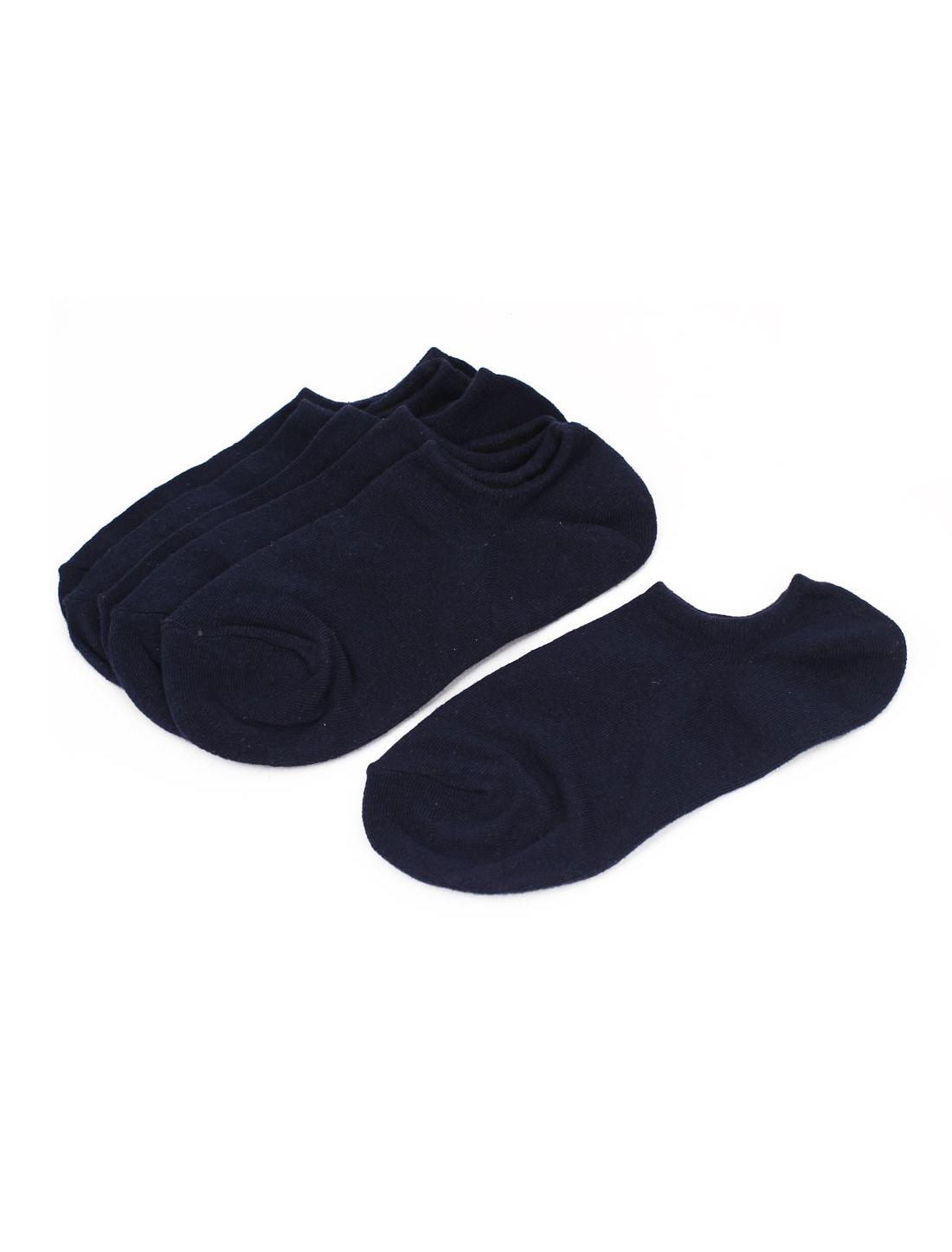 Children Kids Elastic Cotton Blends Short Ankle Socks Dark Blue 3 Pairs