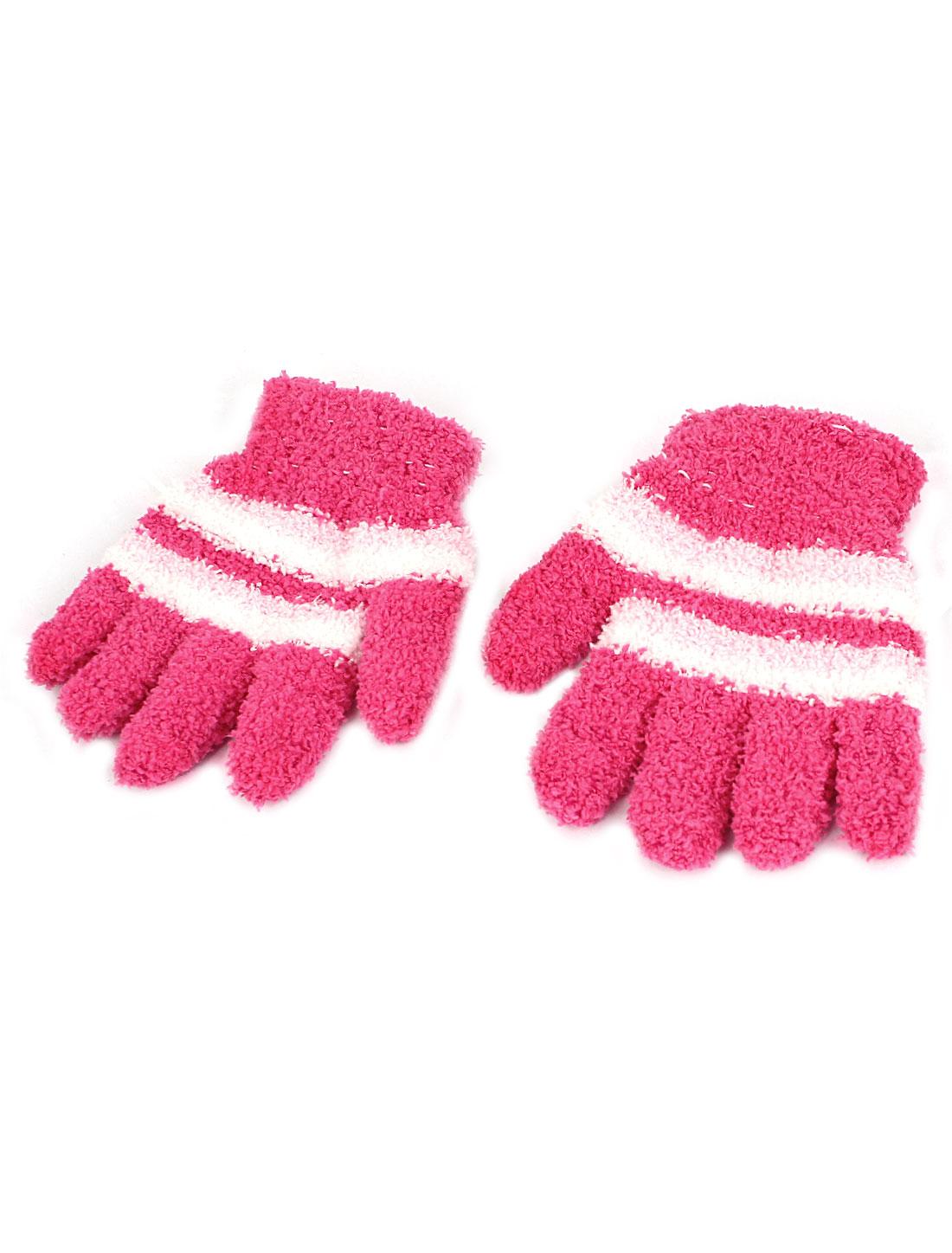 Children Stripes Pattern Full Finger Elastic Hand Warmer Gloves Pink Pair