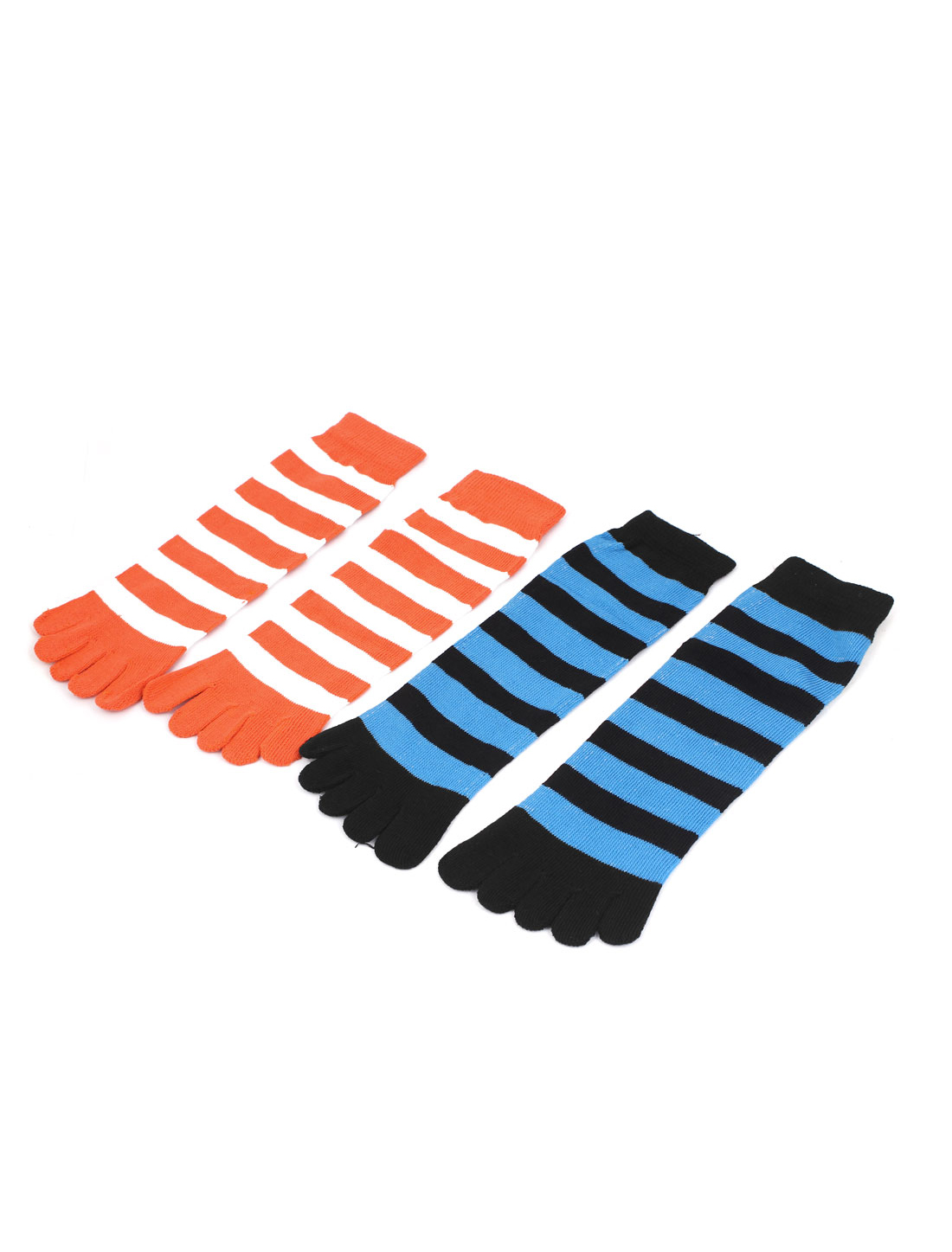 Women Stripes Pattern Stretchy Ankle Length Five Finger Toe Socks 2 Pairs