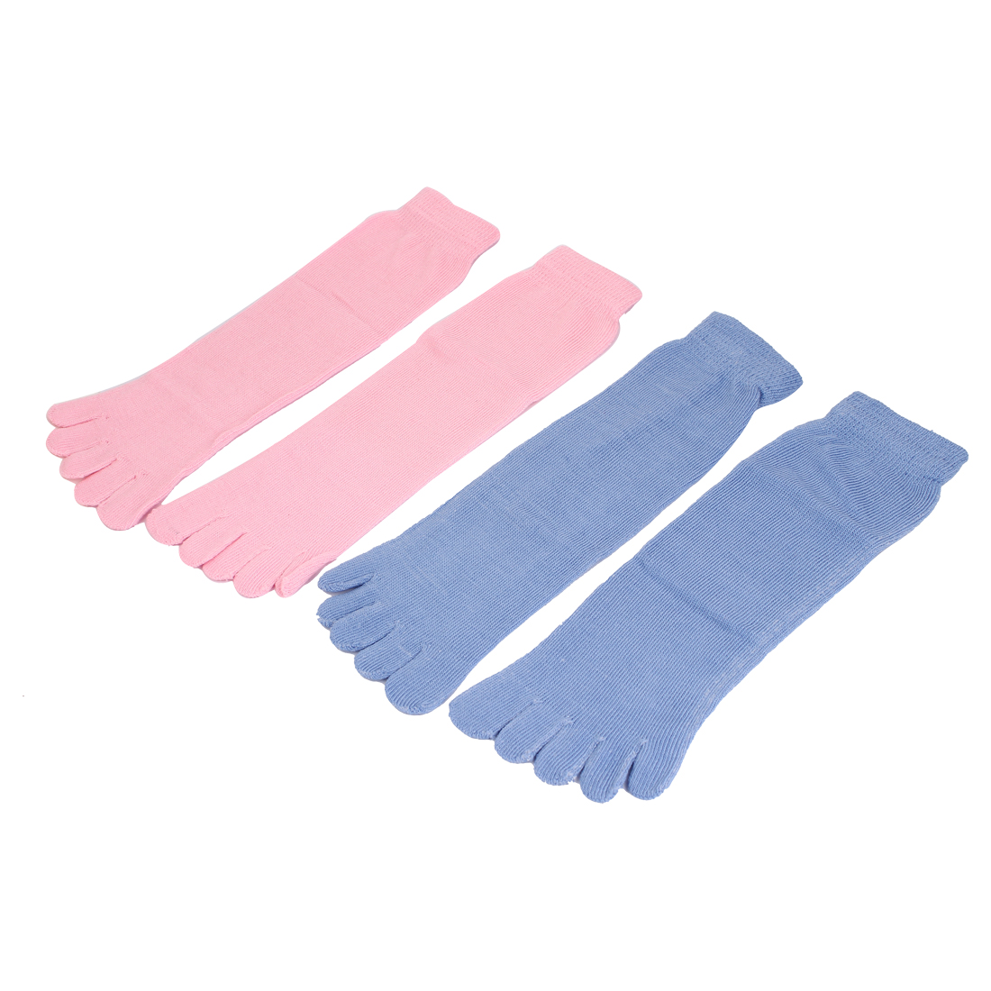 Woman Stretchy Cuff Ankle Length Five Finger Toe Socks Pink Baby Blue 2 Pairs