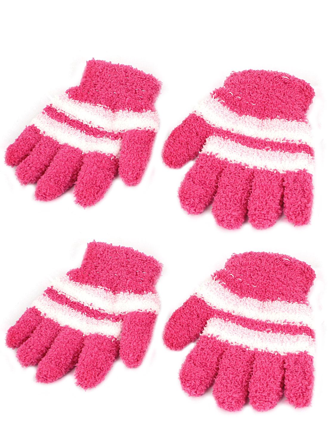 Child Stripes Pattern Full Finger Elastic Hand Warmer Gloves Pink 2 Pairs