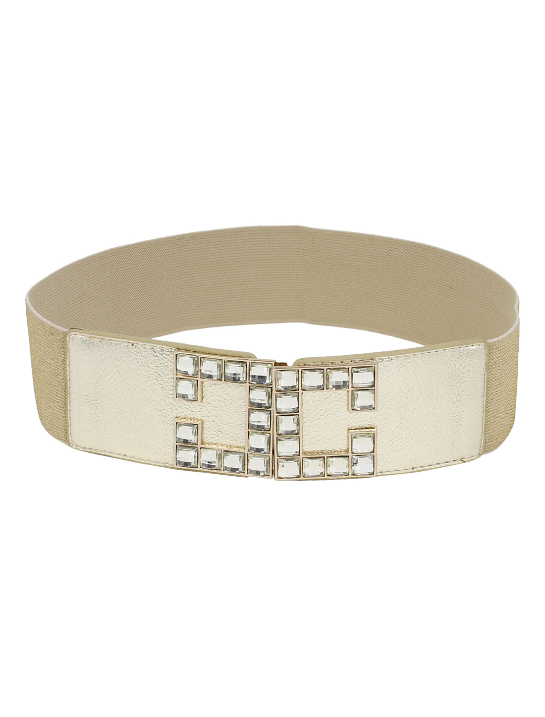 Woman Metal Buckle Link Faux Rhinestone Decor Elastic Waist Belt Gold Tone