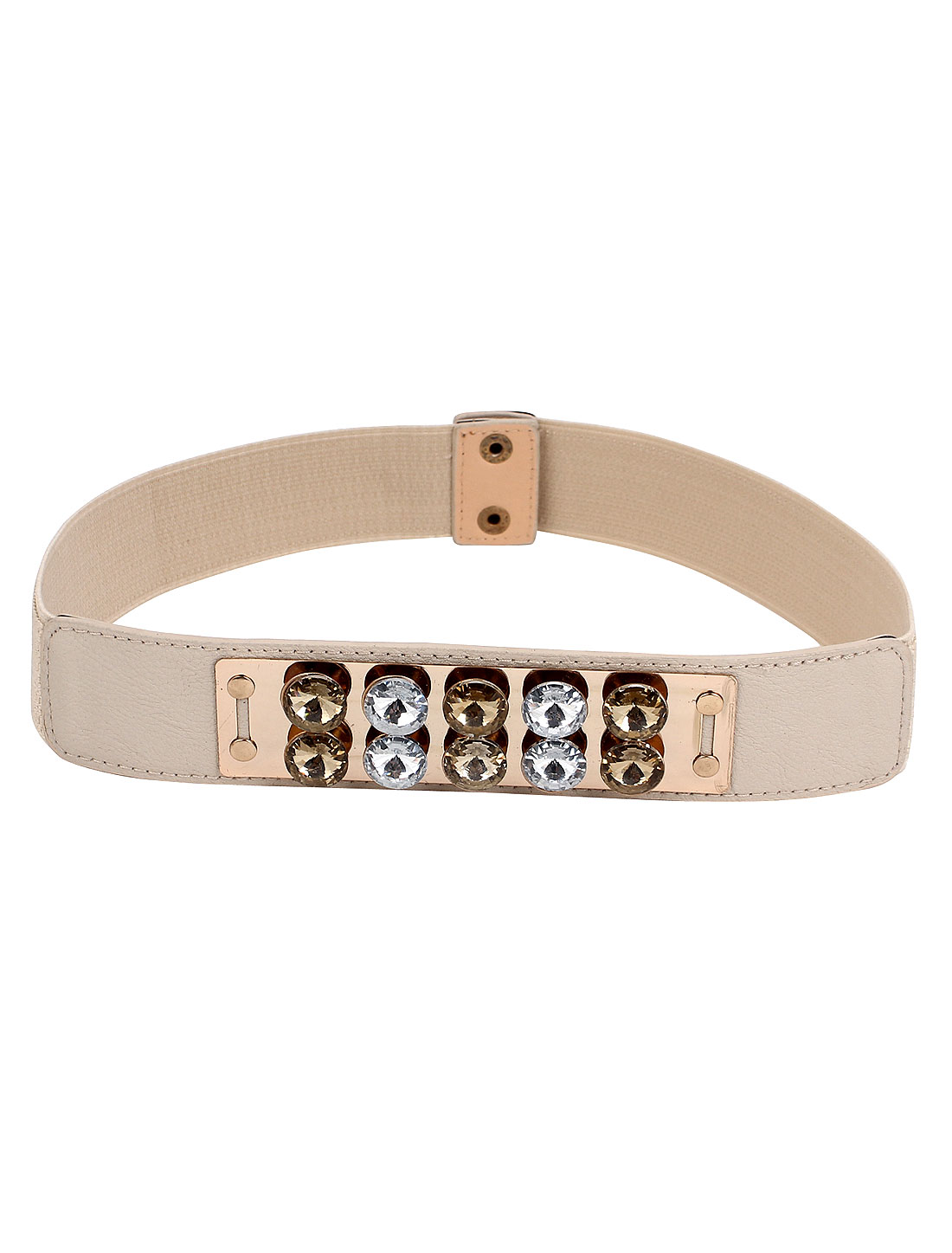Metal Press Button Buckle Faux Rhinestone Decor Elastic Waist Belt Beige